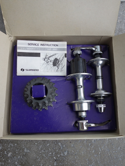 Complete set of Shimano 600 EX hubs with 6 speed UniGlide cassette