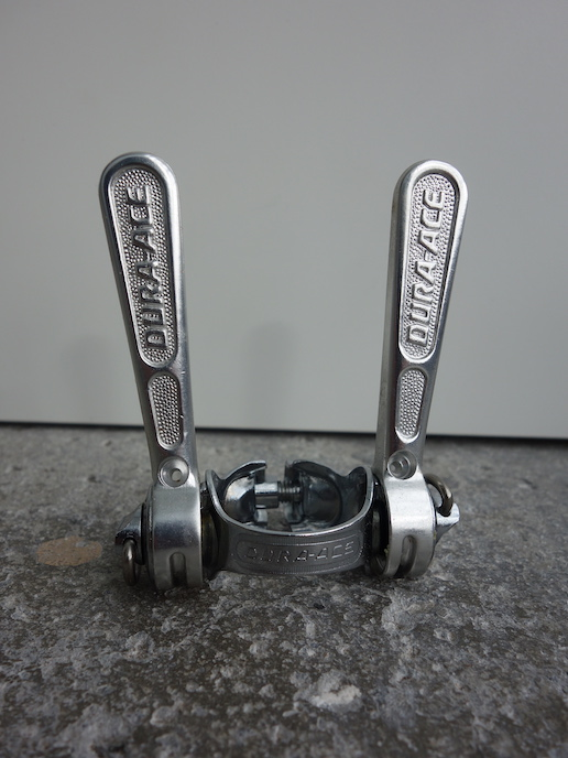 First generation Shimano Dura Ace down tube friction shifters