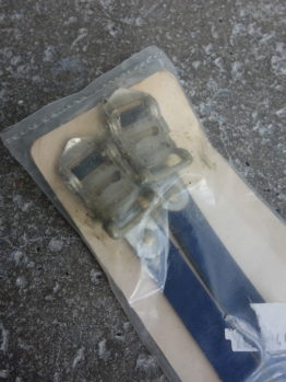 New old stock Specialized leather toe straps in original packaging - navy blue