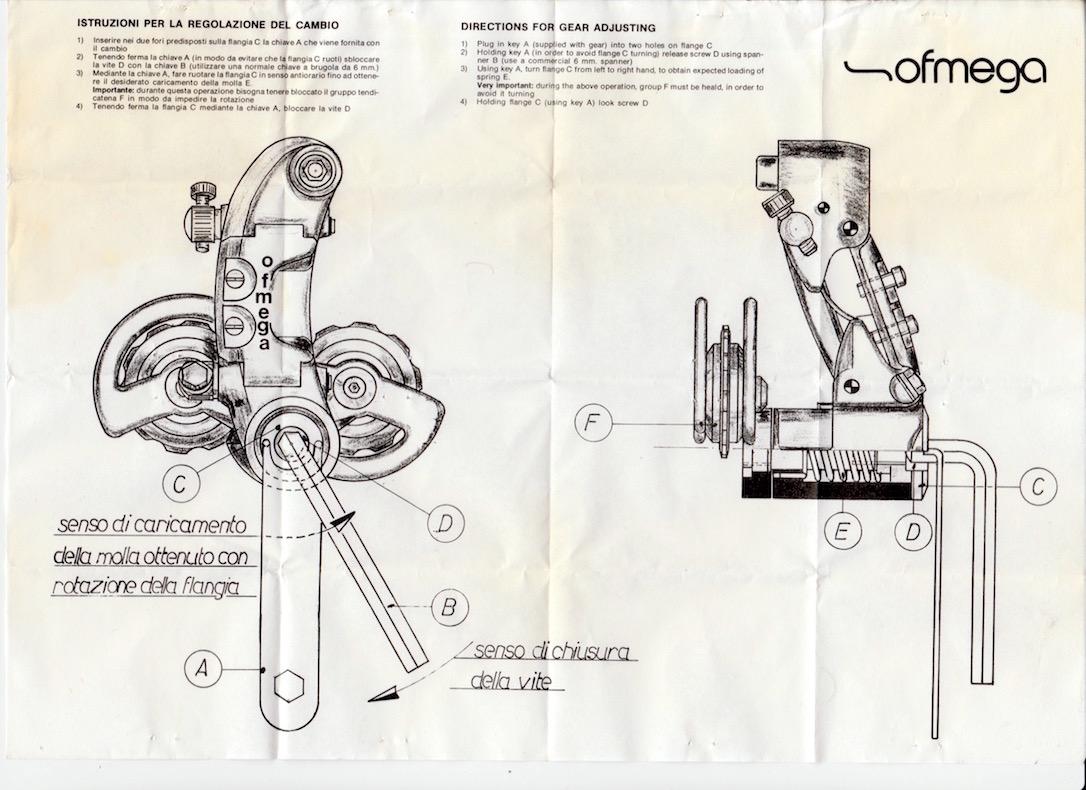 Ofmega Mistral rear mech instruction sheet